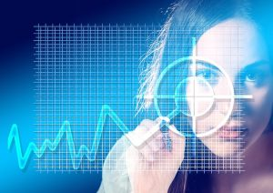 woman looking at a finance chart